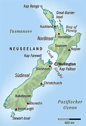 Physische Landkarte Von Neuseeland Sudlicher Teil Weltatlas